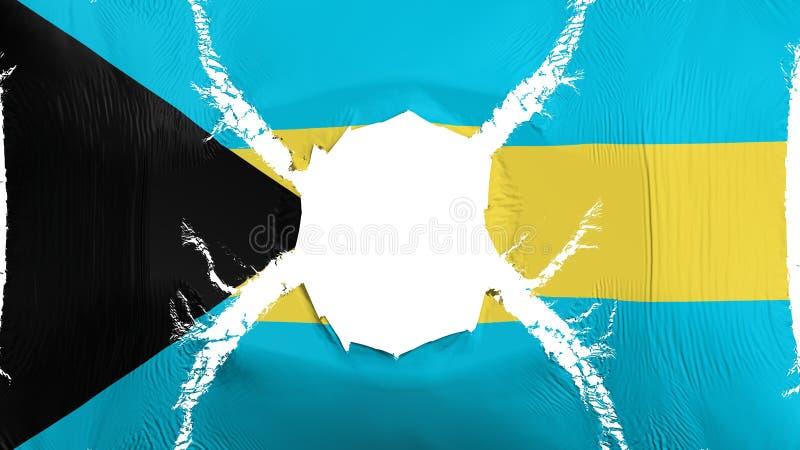 Bandeira do Bahamas com um furo ilustração do vetor