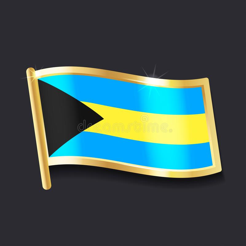 Bandeira do Bahamas sob a forma do crachá ilustração do vetor