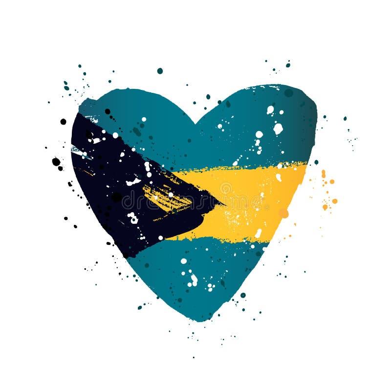 Bandeira do Bahamas sob a forma de um coração grande ilustração royalty free