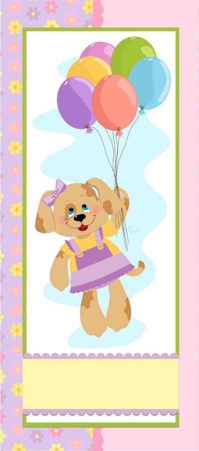 Bandeira do bebê com o cão em cores cor-de-rosa ilustração stock