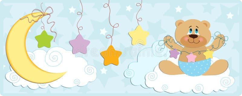 Bandeira do bebê com o urso em cores azuis ilustração royalty free