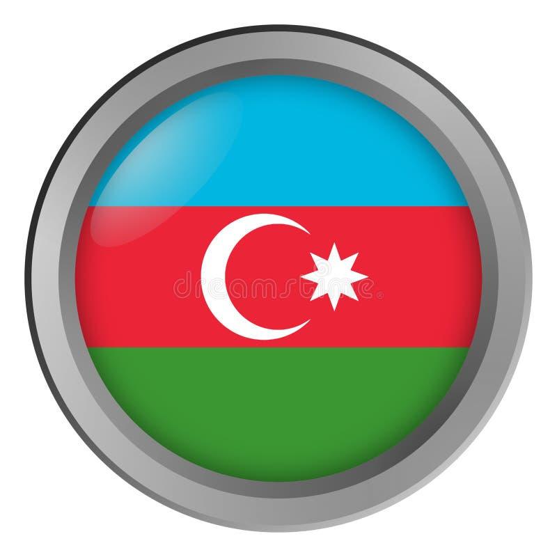 Bandeira do círculo de Azerbaijão como um botão ilustração stock