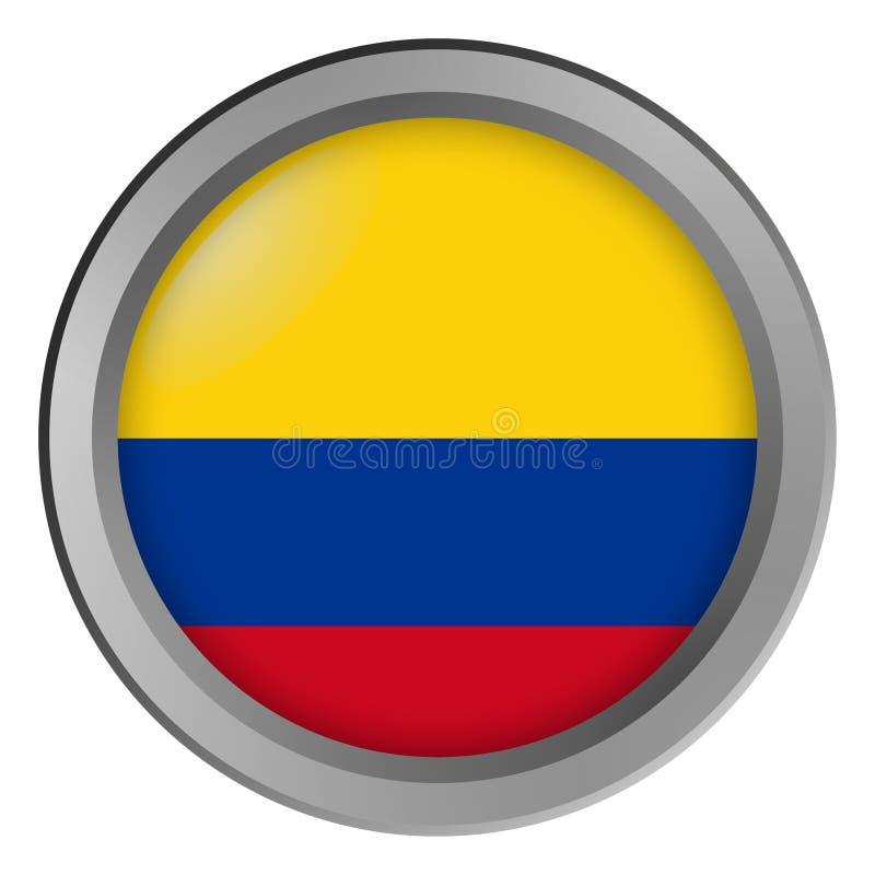 Bandeira do círculo de Colômbia como um botão ilustração do vetor