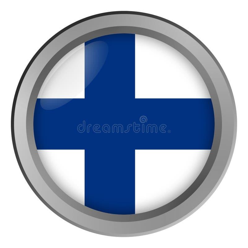 Bandeira do círculo de Finlandia como um botão ilustração do vetor