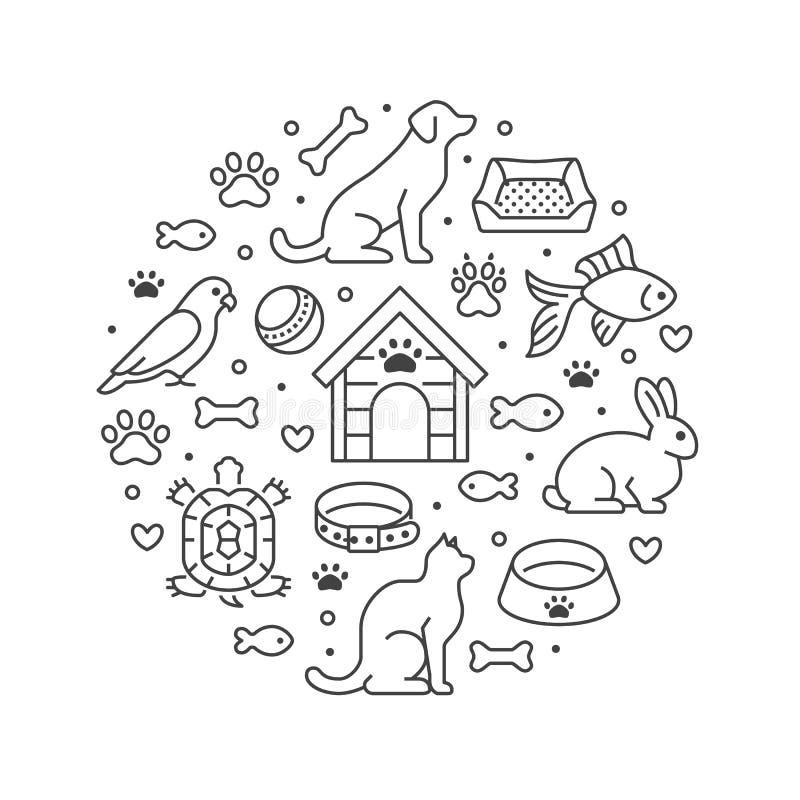 Bandeira do círculo do vetor da loja de animais de estimação com linha lisa ícones Casota, comida de gato, pássaro, coelho, peixe ilustração royalty free