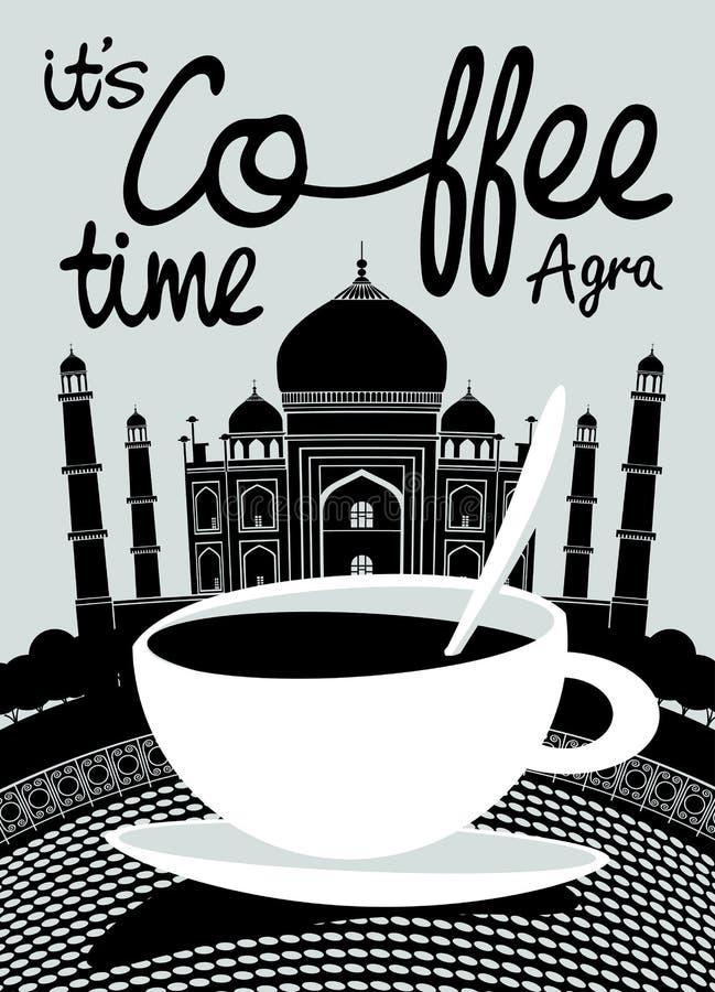 Bandeira do café no fundo do indiano Taj Mahal ilustração royalty free
