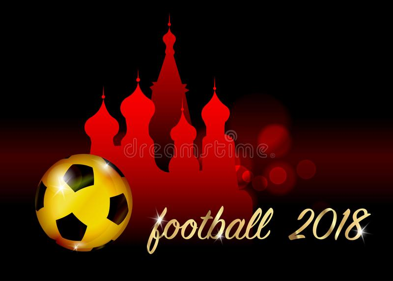 Bandeira do campeonato do futebol Vector a ilustração da bola de futebol dourada abstrata com a catedral do ` s da manjericão do  ilustração do vetor