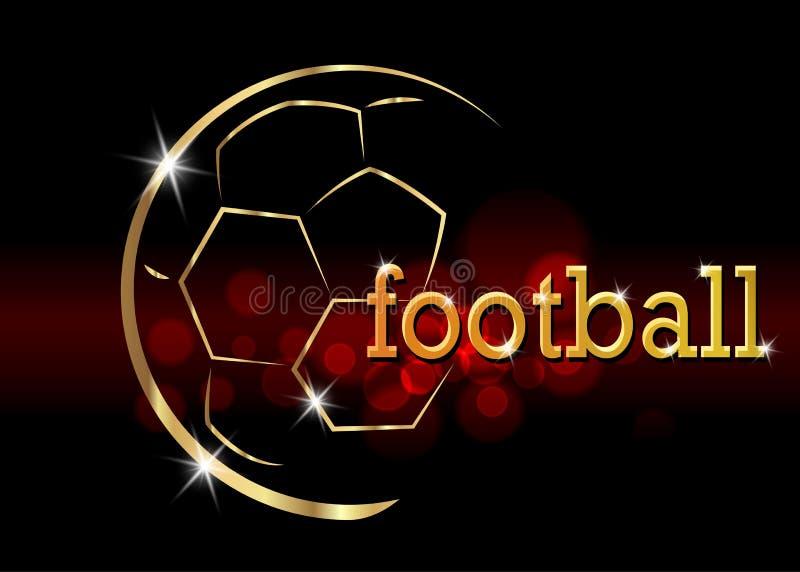 Bandeira do campeonato do futebol Vector a ilustração da bola de futebol dourada abstrata para seu projeto ilustração do vetor