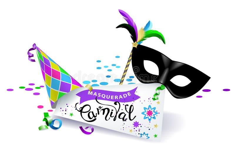 Bandeira do carnaval Máscara preta do carnaval com penas coloridas, o chapéu colorido e a folha de papel com o inscri caligráfico ilustração royalty free