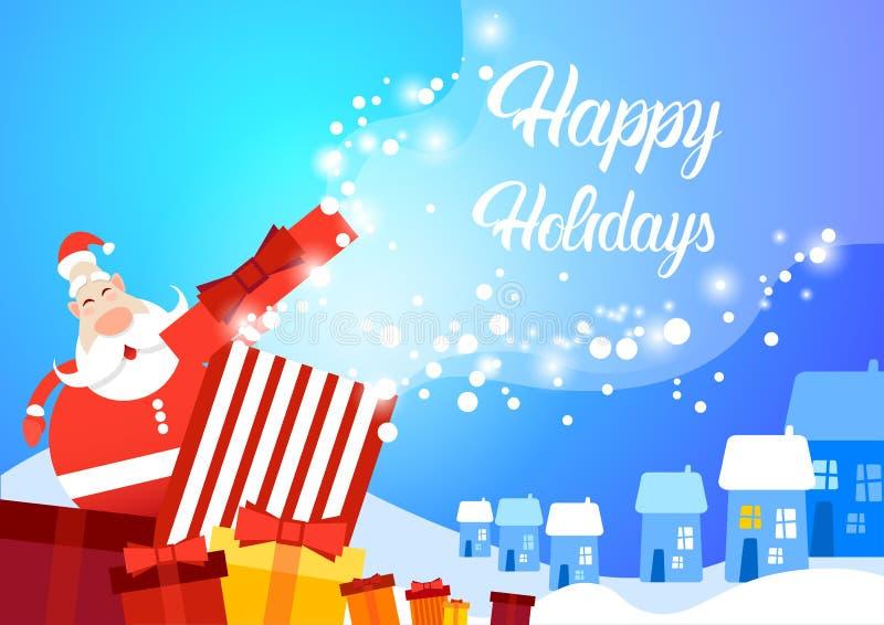 Bandeira do cartão do Feliz Natal do ano novo de Santa Clause Snowy Village Happy ilustração royalty free