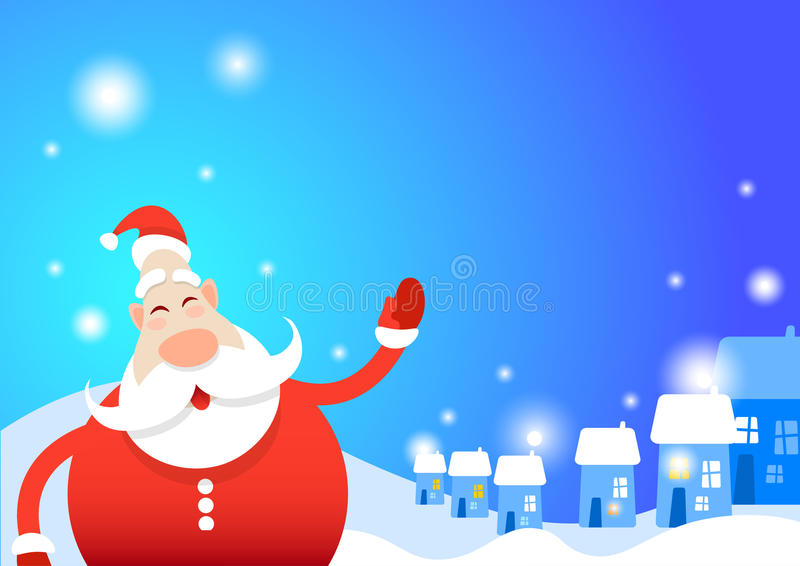 Bandeira do cartão do Feliz Natal do ano novo feliz de Santa Clause Snowy House Village ilustração do vetor