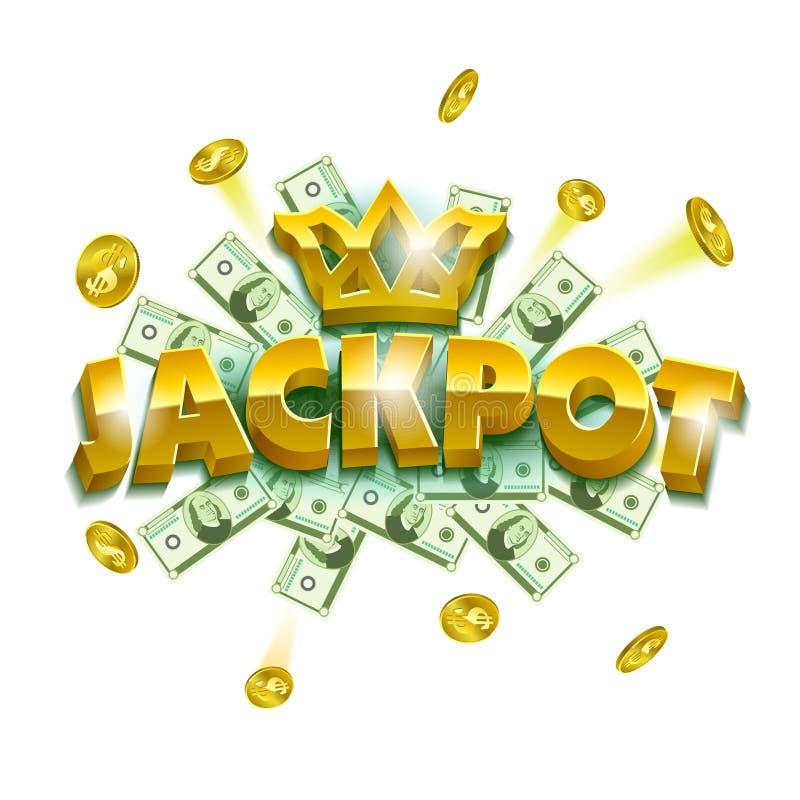 Bandeira do casino do jackpot Objetos coloridos como moedas, cédulas e sinais enormes da letra ilustração stock