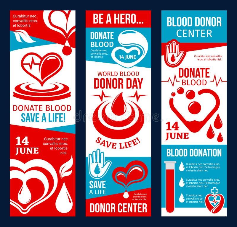 Bandeira do centro do doador de sangue com coração e gota vermelhos ilustração do vetor