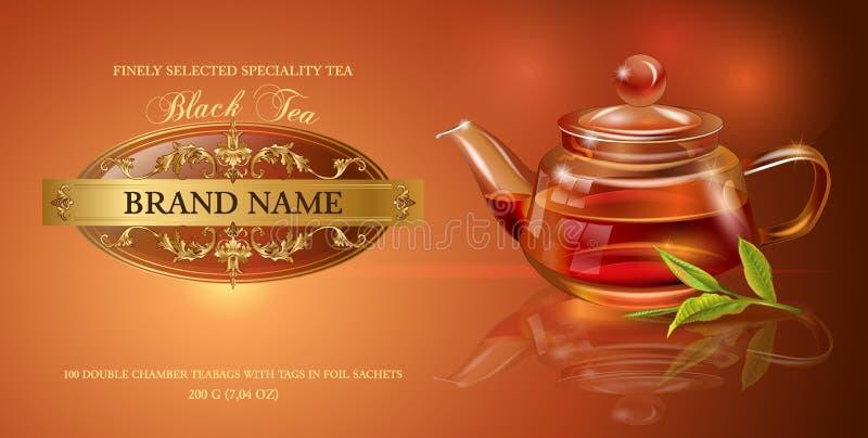 Bandeira do chá preto ilustração stock