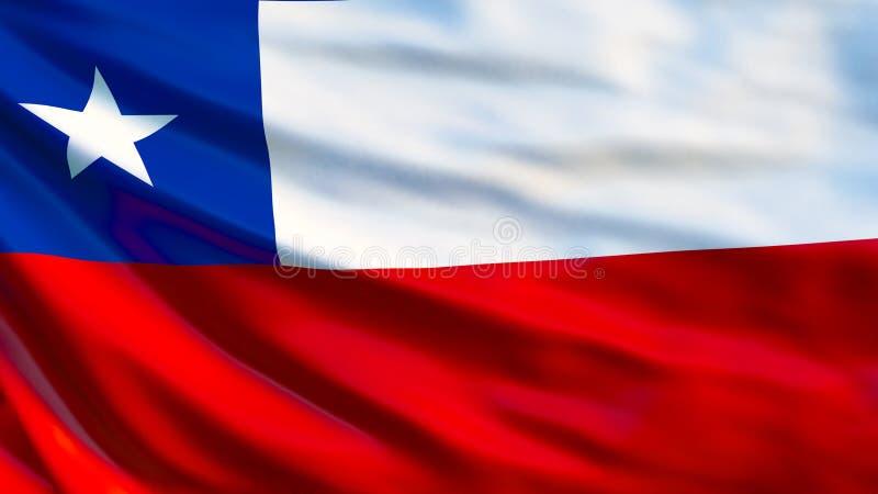 Bandeira do Chile Bandeira de ondulação da ilustração do Chile 3d ilustração royalty free
