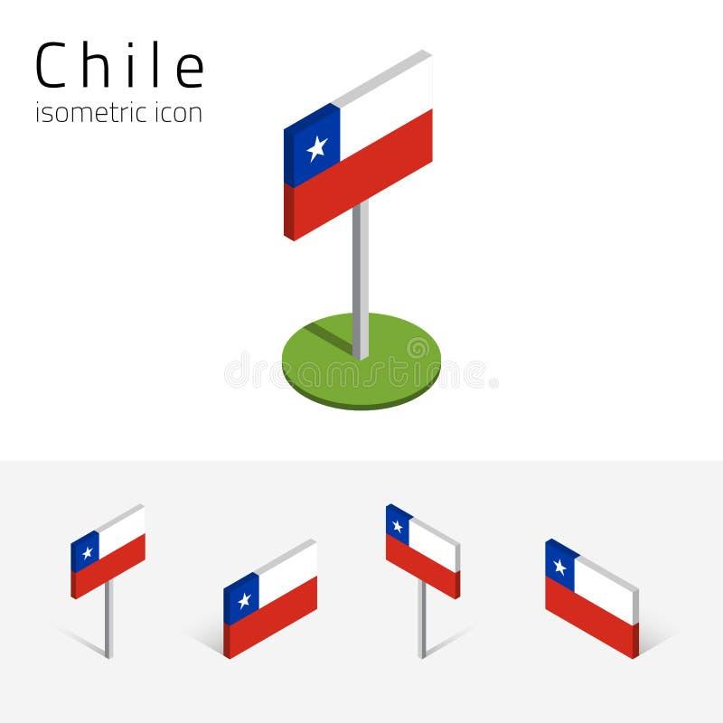 Bandeira do Chile, grupo do vetor dos ícones 3D lisos isométricos ilustração royalty free