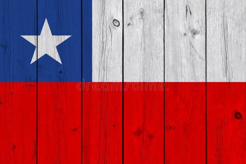 Bandeira do Chile pintada na prancha de madeira velha imagem de stock royalty free
