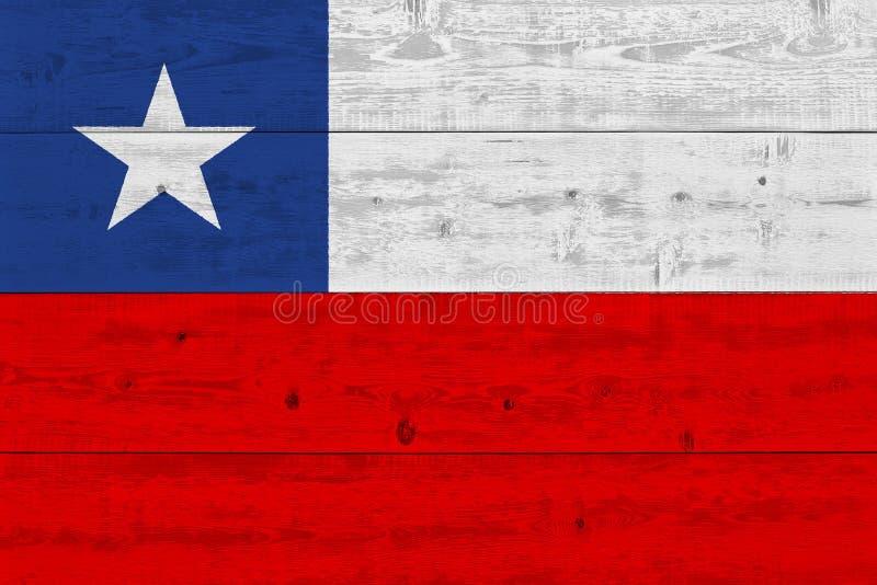 Bandeira do Chile pintada na prancha de madeira velha fotos de stock royalty free
