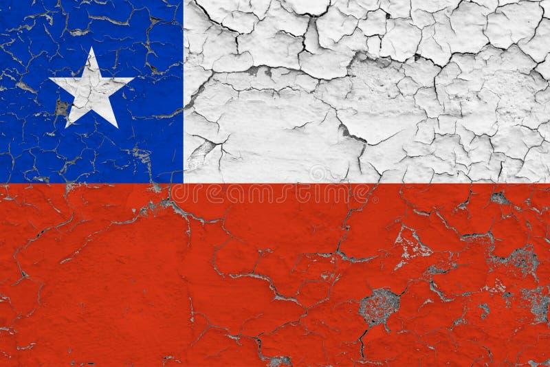 A bandeira do Chile pintou em parede suja rachada Teste padr?o nacional na superf?cie do estilo do vintage imagem de stock