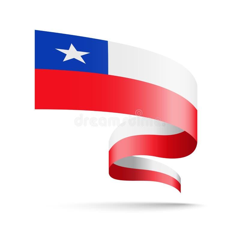 Bandeira do Chile sob a forma da fita da onda ilustração do vetor
