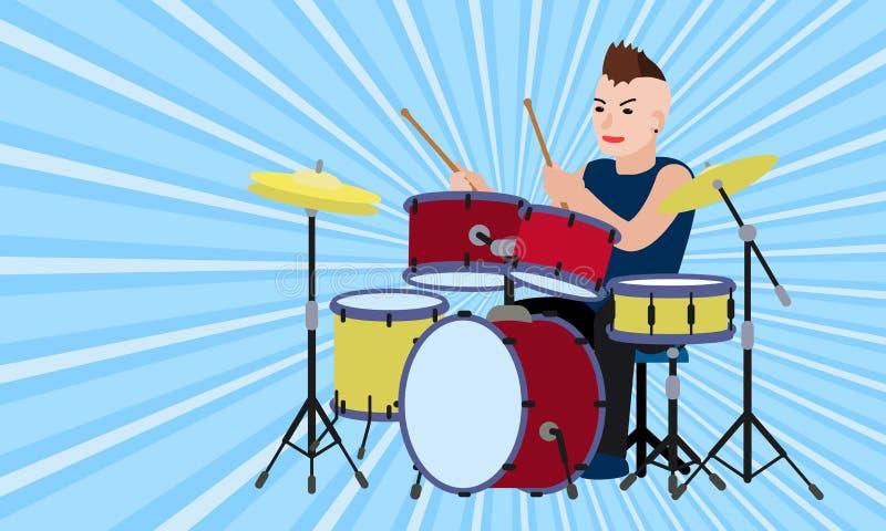 Bandeira do conceito do baterista da rocha, estilo liso ilustração royalty free
