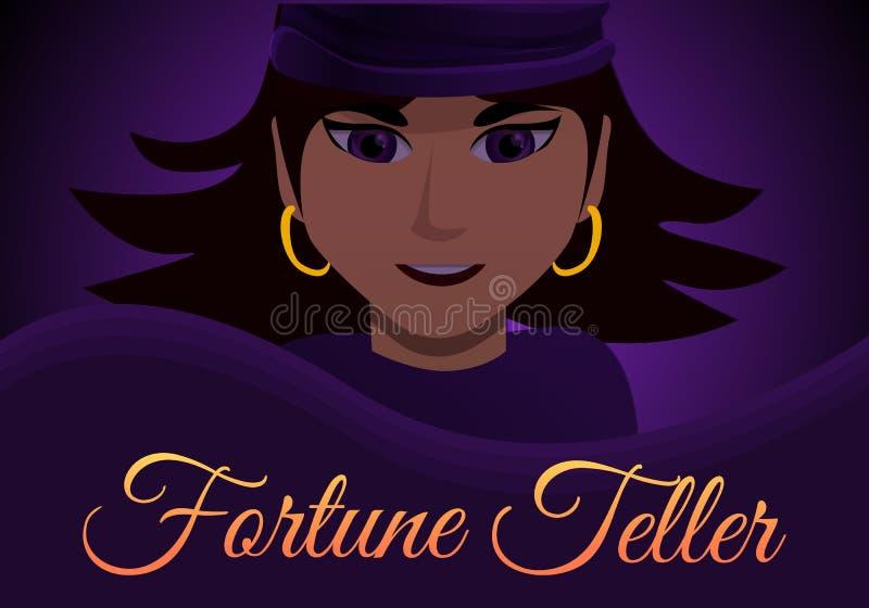 Bandeira do conceito do caixa de fortuna da mulher, estilo dos desenhos animados ilustração do vetor