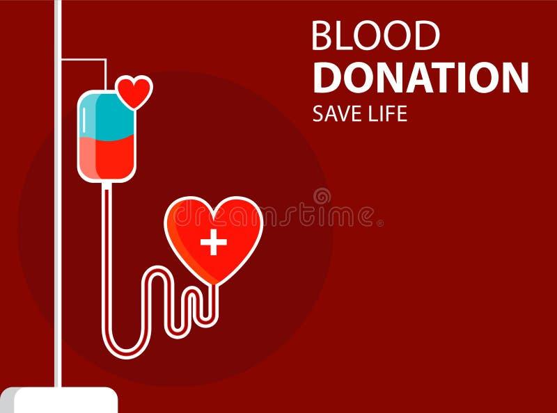 Bandeira do conceito com drooper e cora??o Vida de salvaguarda da doa??o de sangue Vetor ilustração royalty free