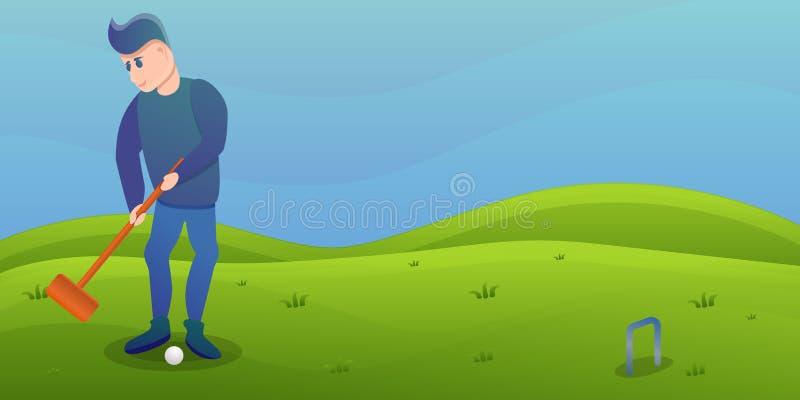 Bandeira do conceito do cróquete do jogo do homem, estilo dos desenhos animados ilustração do vetor