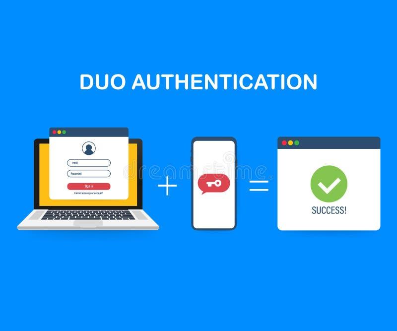 Bandeira do conceito da autenticação do duo com lugar do texto Pode usar-se para a bandeira da Web, infographics, imagens do heró ilustração stock