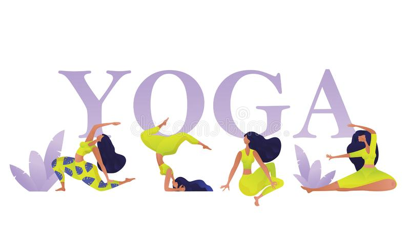 Bandeira do conceito da classe da ioga com figuras das mulheres em poses e em asanas diferentes Molde do projeto do esporte para  ilustração stock