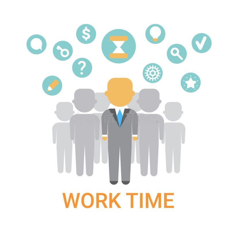 Bandeira do conceito da organização do processo do funcionamento do ícone do tempo de trabalho ilustração stock