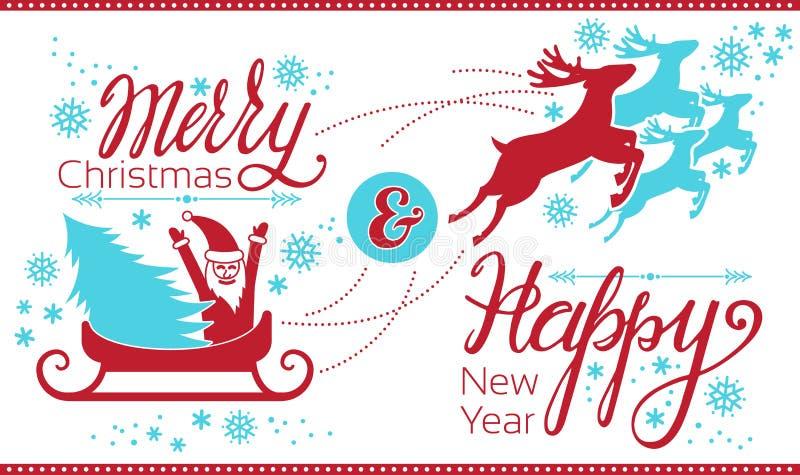 Bandeira do conceito de Papai Noel do Feliz Natal, estilo simples ilustração do vetor