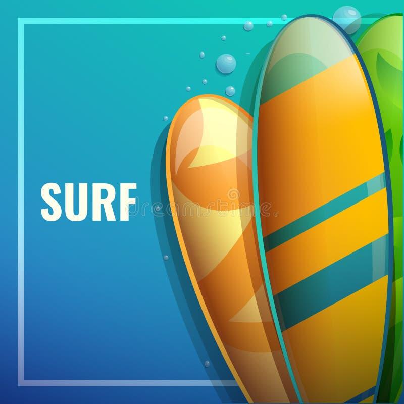 Bandeira do conceito de projeto no tema de surfar ilustração royalty free