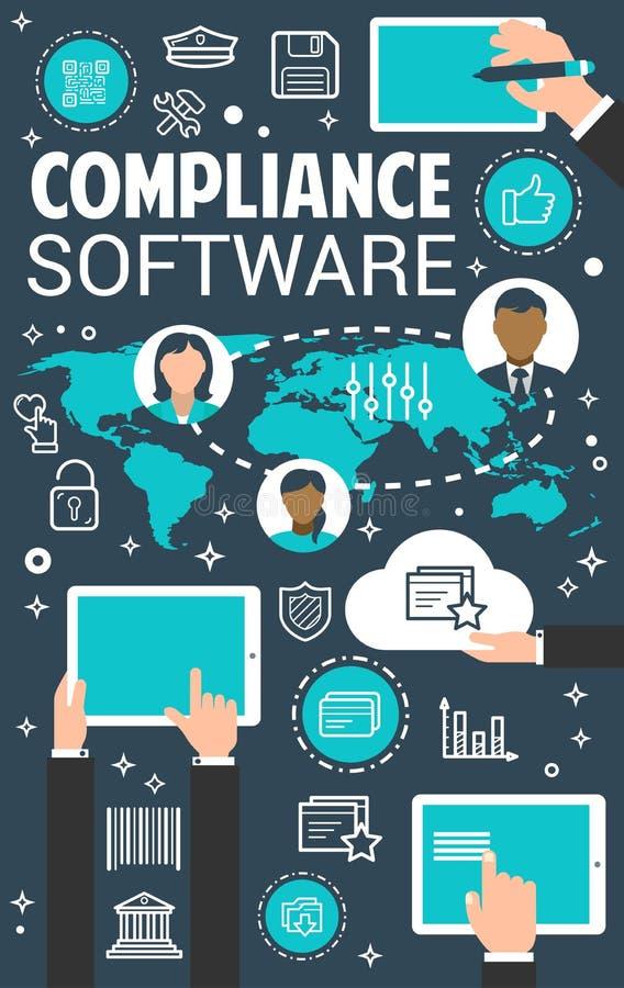 Bandeira do conceito de software da gestão da conformidade ilustração stock