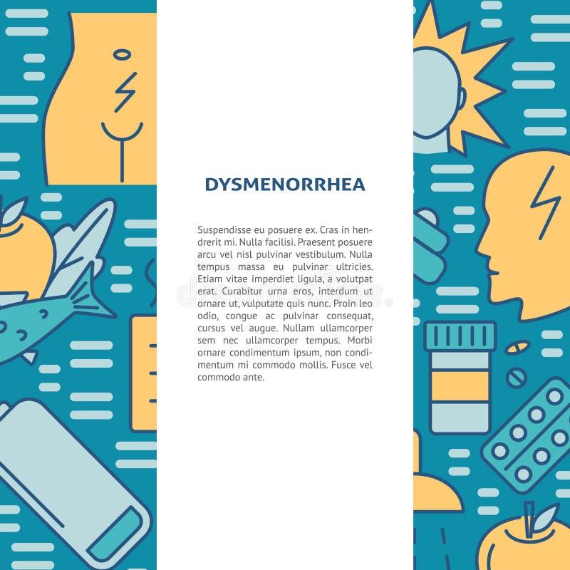 Bandeira do conceito dos sintomas e do tratamento do Dysmenorrhea na linha estilo ilustração royalty free