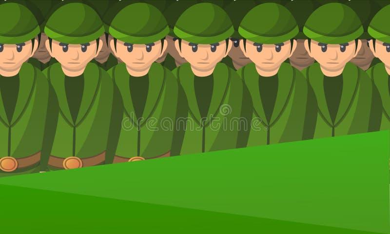 Bandeira do conceito dos soldados do exército, estilo dos desenhos animados ilustração stock