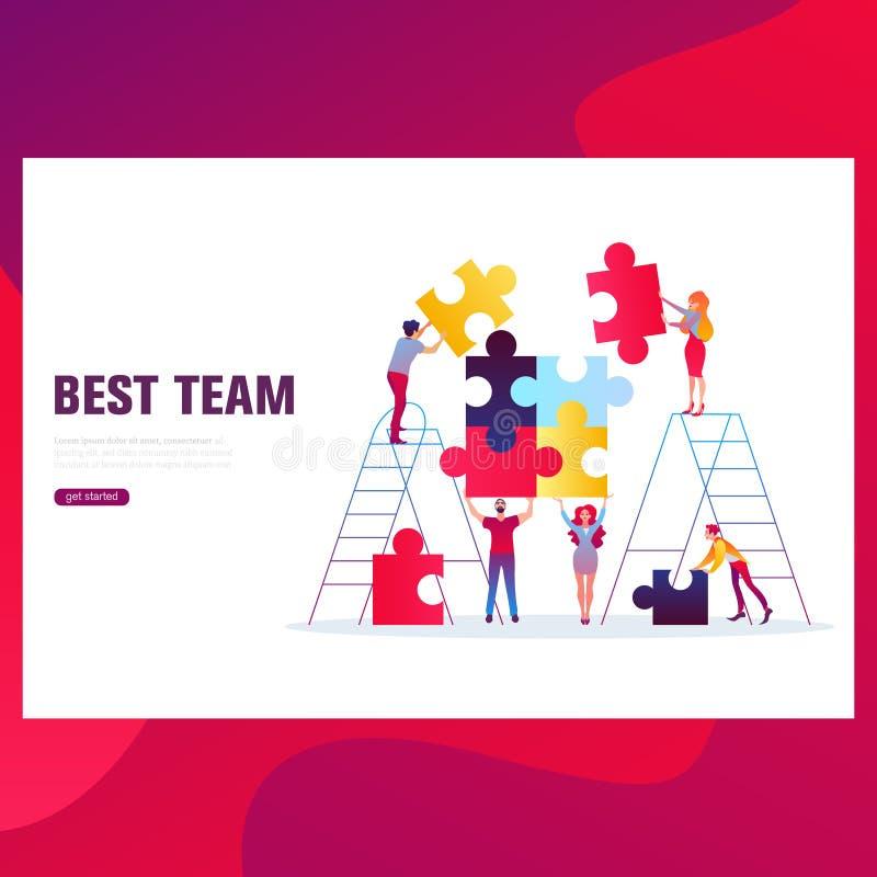 Bandeira do conceito dos trabalhos de equipa Pode usar-se para a bandeira da Web, infographics, imagens do herói ilustração do vetor