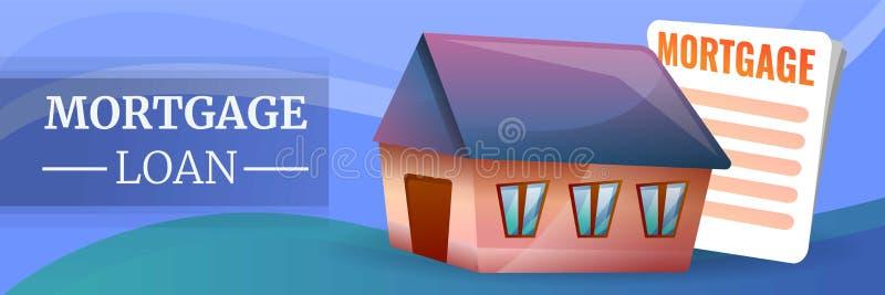 Bandeira do conceito do empréstimo hipotecário, estilo dos desenhos animados ilustração do vetor