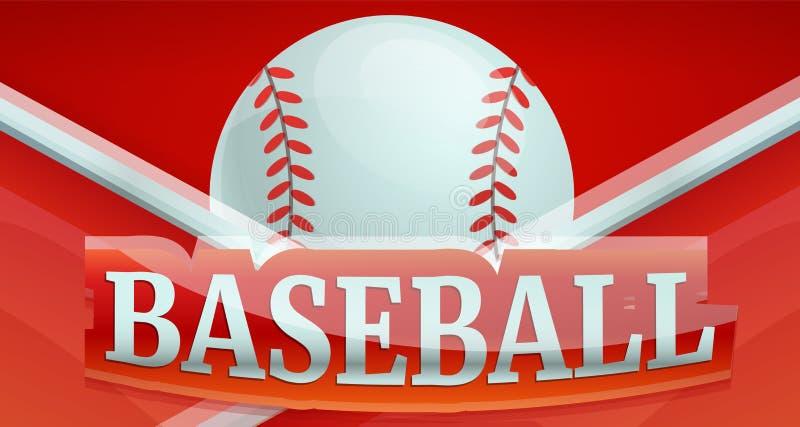 Bandeira do conceito do esporte do fogo do basebol, estilo dos desenhos animados ilustração stock