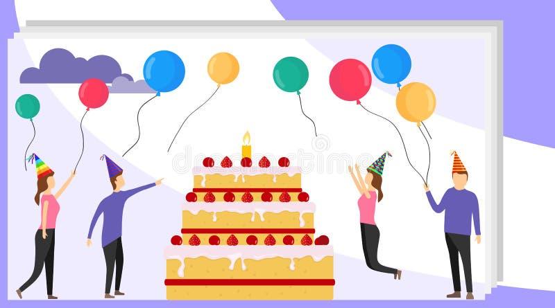 Bandeira do conceito do feliz aniversario com povos Partido da família com povos felizes e o bolo grande Desenhos animados incor ilustração royalty free
