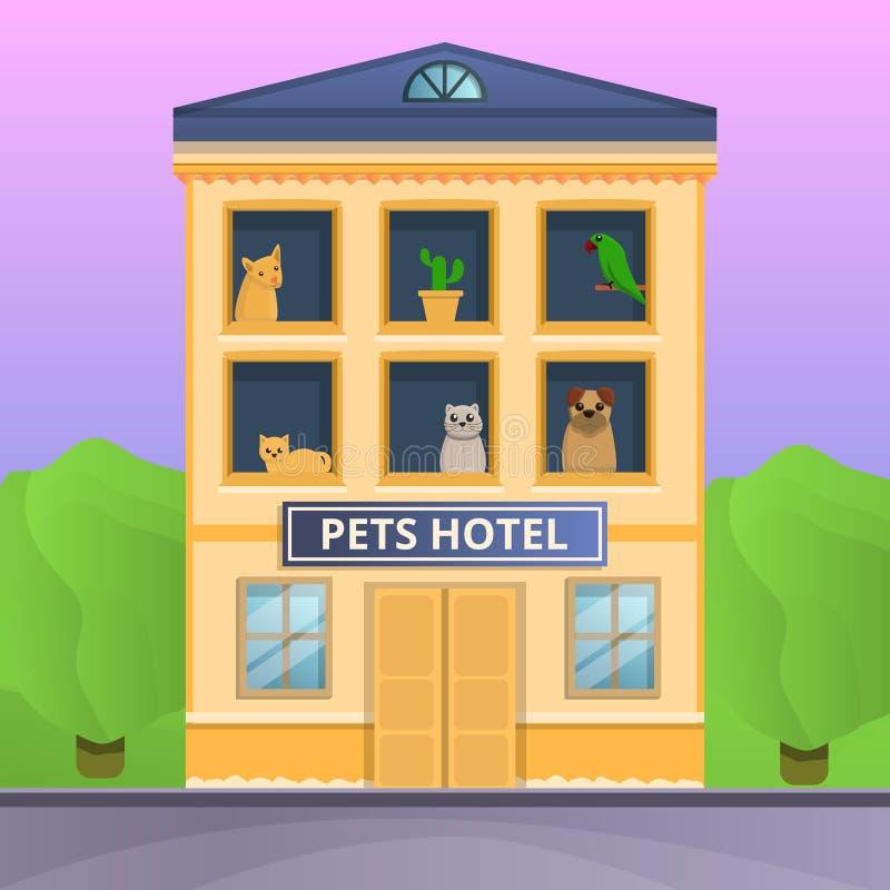 Bandeira do conceito do hotel dos animais de estimação, estilo dos desenhos animados ilustração do vetor