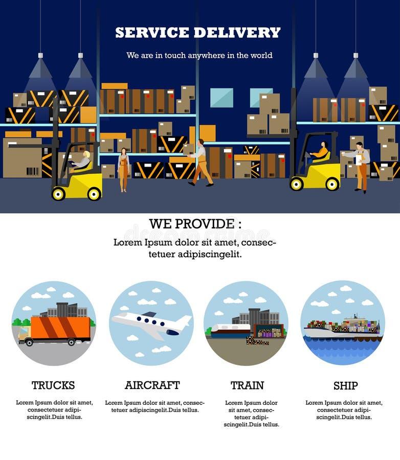 Bandeira do conceito logístico e de entrega do serviço Cartaz do interior do armazém Ilustração do vetor no projeto liso do estil ilustração royalty free