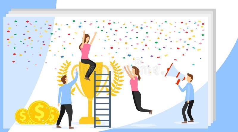 Bandeira do conceito do sucesso Ilustração lisa do vetor do conceito do sucesso Pode usar-se para a bandeira da Web, infographics ilustração do vetor