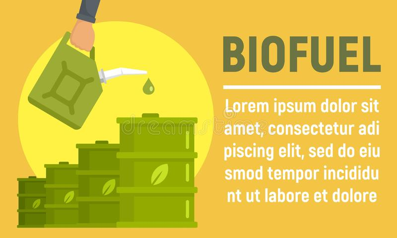 Bandeira do conceito do tambor do combustível biológico, estilo liso ilustração stock