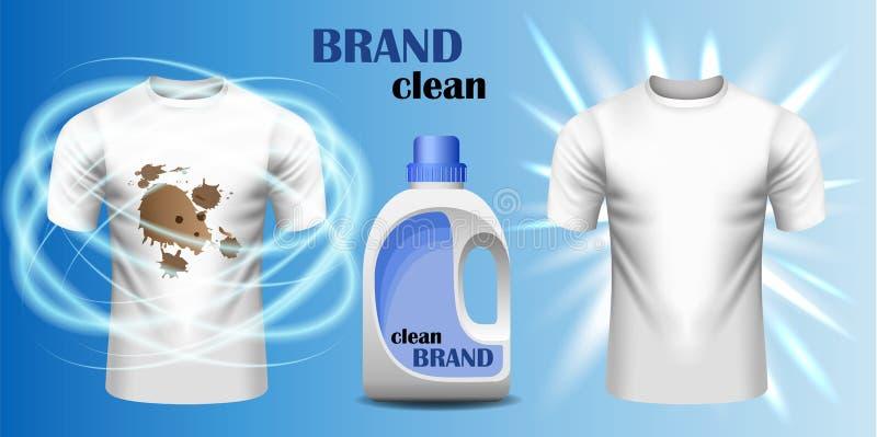 Bandeira do conceito do tipo do líquido de limpeza da sujeira, estilo realístico ilustração stock