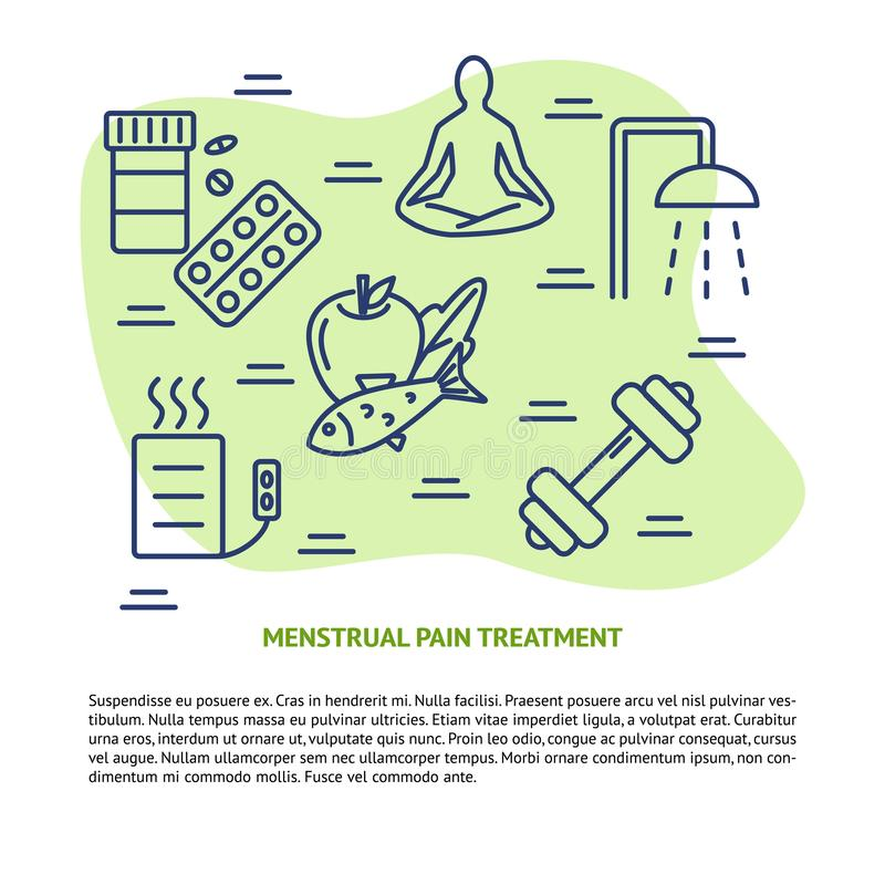Bandeira do conceito do tratamento da dor da menstruação na linha estilo ilustração do vetor