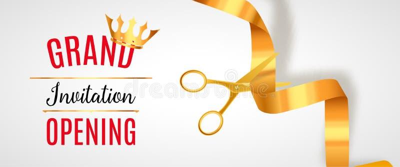 Bandeira do convite da grande inauguração Evento dourado da cerimônia do corte da fita Cartão da celebração da grande inauguração ilustração do vetor