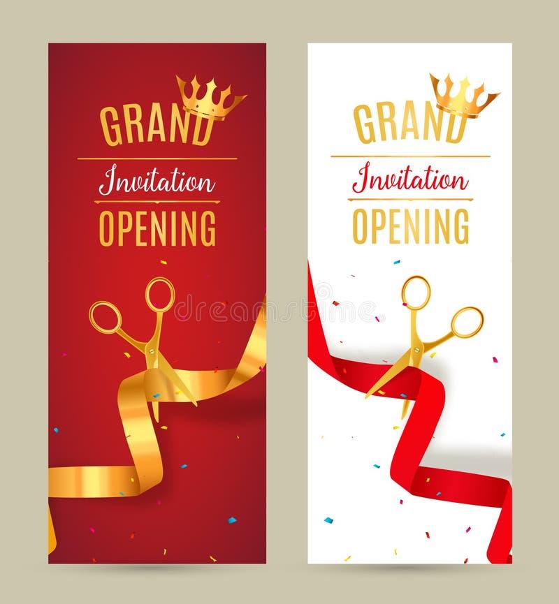 Bandeira do convite da grande inauguração Evento dourado e vermelho da cerimônia do corte da fita Cartão da celebração da grande  ilustração royalty free