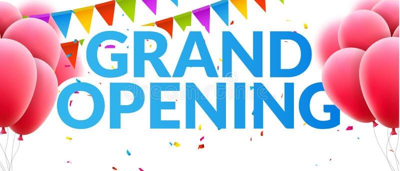 Bandeira do convite do evento de grande inauguração com balões e confetes Projeto do molde do cartaz da grande inauguração ilustração stock