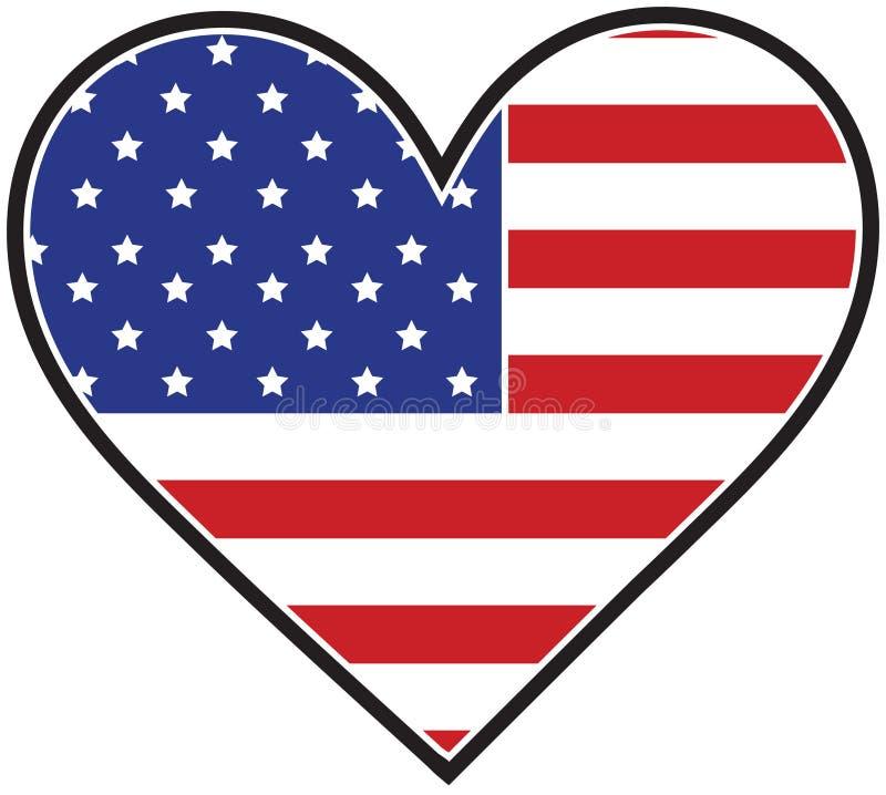 Bandeira do coração de América ilustração do vetor